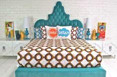 Tangier Bed in Aqua Velvet