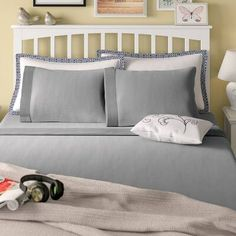Laurel Foundry Modern Farmhouse Eldon Solid Color Sheet Set Size: Queen, Color: Off White Twin Daybed With Trundle, Trundle Mattress, Joss And Main, Ruffle Bedding, Sofa, Quilt Sets, Bed Sizes, Comforter Sets, Navy Comforter