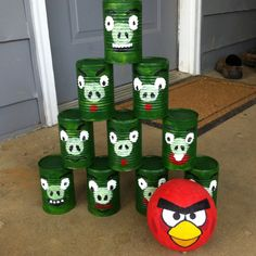 Angry birds party idea from squidoo.com.  This seems so easy, and really fun.