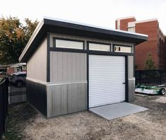 50 Garden Rolling Metal Door Contemporary Backyard Shed Ideas - Modern Small Shed Plans, Wood Shed Plans, Shed Building Plans, Diy Shed Plans, Storage Shed Plans, Building Homes, Backyard Storage Sheds, Garden Storage Shed, Backyard Sheds