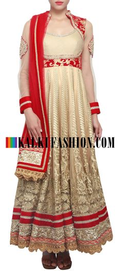Buy Online from the link below. We ship worldwide (Free Shipping over US$100) http://www.kalkifashion.com/beige-anarkali-suit-featuring-in-zari-and-aari-embroidery-only-on-kalki.html