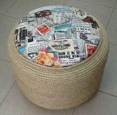 Cantinho craft da Nana: puff de pneu e corsa sisal