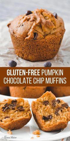 Savory Pumpkin Recipes, Healthy Pumpkin, Dairy Free Muffins, Pumpkin Chocolate Chip Muffins, Pumpkin Cookies, Chip Cookies, Gluten Free Chocolate, Gluten Free Baking, Gluten Free Pumpkin Bread