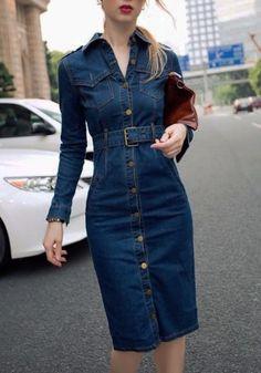 Jeans Dress Denim Dresses Winter autumn Office Slim Jeans Long Sleeve Mid-Cuff Denim with Belt for Women blue vintage Long Dress Blue Denim Dress, Jeans Dress, Shirt Dress, Tunic Shirt, Stylish Dresses, Casual Dresses, Denim Dresses, Dresses Dresses, Casual Outfits
