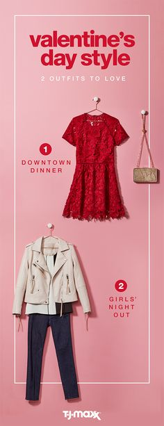 Fall in love with flirty, feminine dresses, tops, and accessories that work no matter what your Valentine's Day plans are. Opt for a flattering lace dress in a red or blush hue for dinner downtown or, score an edgy leather jacket paired with your go-to jeans and hit the town with the girls. Find more Valentine's Day outfits at T.J.Maxx or tjmaxx.com.