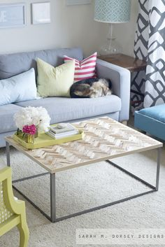 sarah m. dorsey designs: Herringbone Driftwood Table
