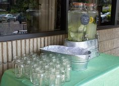 Cucumber water, herbed lemonade