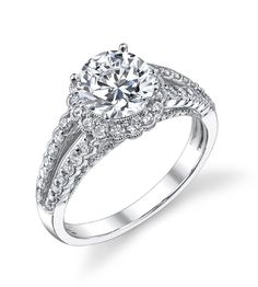 Diamond Engagement Ring - The Diamond Guys Collection  Center Diamond Cut: Round Cut  Side Diamonds: 78 (weight = 0.62ct)