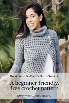 crochet clothes Simple stitch repeats, a full picture tutorial, and easy blocking instructions make this modern sweater the perfect project for crocheters. Crochet Jumper Pattern, Crochet Shirt, Sweater Knitting Patterns, Crochet Cardigan, Knit Or Crochet, Crochet Patterns, Crochet Sweaters, Free Crochet, Crochet Waffle Stitch