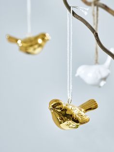 NEW Three Hanging Porcelain Birds - Gold
