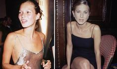 '90s-Style Fashions and Jewelry making a comeback, à la Kate Moss: Kate Moss and Jennifer Anison Wearing Slip Dresses in the 1990s