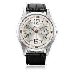 Fashion Men Round Dial Two Eyes Leather Quartz Watch