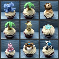 Jungle cupcake topper tutorial for adorable baby shower cupcakes Jungle Cupcakes, Jungle Cake, Animal Cupcakes, Cute Cupcakes, Baby Shower Cupcakes, Shower Cake, Decorate Cupcakes, Cakes To Make, How To Make Cake