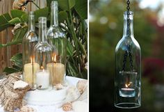 beautiful candles with glass bottles