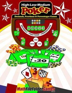 High-Low-Medium Poker: Decimals, Fractions and Percentages Games http://www.teacherspayteachers.com/Product/High-Low-Medium-Poker-Decimals-Fractions-and-Percentages-Games-1066307
