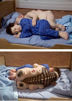 Undivided, 2004 by Patricia Piccinini: As she mixes alien creatures nurturing their offspring together with human children the results are simultaneously stunning and heartwarming