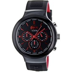 Lacoste Borneo Chronograph Black Dial Black and Red Silicone Mens Watch 2010652 Lacoste. $155.00. Brand Name lacoste  model 2010652 Band Rubber Dial black  Movement Quartz  Crystal Sapphire