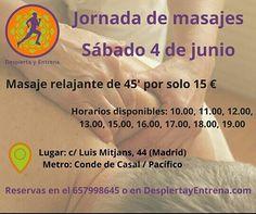 Ven a relajarte con nosotros el próximo sábado 4 de junio! Aprovecha nuestra #oferta especial de #masajerelajante en #Madrid y activa tu #bienestar #DespiertayEntrena #Despierta #Entrena #masaje #quiromasaje #relax