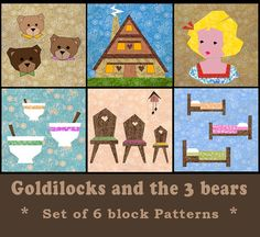 Goldilocks and the 3 Bears Set of 6 paper pieced quilt block patterns PDF