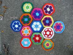 Thirteen African Flower Hexagons by crochetbug13, via Flickr