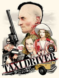 "Joshua Budich - ""Taxi Driver"" limited edition screen print signed and numbered edition of 150 18"" x 24"" This artwork was created for ""Scorsese: an art show tribute"" an art show exhibition of fan art,"