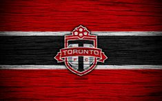 Download wallpapers Toronto FC, 4k, MLS, wooden texture, Eastern Conference, football club, Canada, Toronto, soccer, logo, FC Toronto