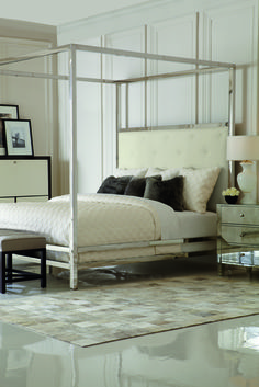 Shop Magdalena King Canopy Bed from Bernhardt at Horchow, where you'll find new lower shipping on hundreds of home furnishings and gifts. Upholstered Furniture, Luxury Furniture, Bedroom Furniture, Home Furniture, Furniture Design, Bedroom Decor, Master Bedroom, Bedroom Ideas, Tranquil Bedroom