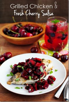 Grilled Chicken & Fresh Cherry Salsa and Skinny Cherry Berry Smash celebrate fresh, juicy fruit and berries. Grilling Recipes, Cooking Recipes, Healthy Recipes, Skinny Chicken Recipes, Healthy Chicken, Fresco, Cherry Salsa, Marinated Grilled Chicken, Berry