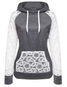 Women Sheer Lace Long Sleeve Hooded Pullover Floral Sweatshirt Hoodie With Pockets