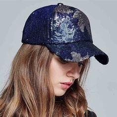 Maple leaves baseball cap for women fashion sequins winter hat