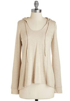 Cookie Competition Hoodie in Oatmeal - Mid-length, Jersey, Knit, Tan, Solid, Casual, Long Sleeve, Scoop