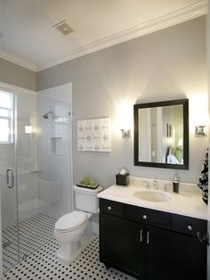 Small bathroom remodel...I love the color on the walls.  Perhaps this will be my master bath one day.