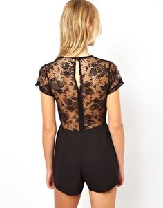 Image 2 of Love Plunge Playsuit with Lace Raglan