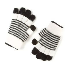 White and Black Striped Double Layer Fleece Gloves