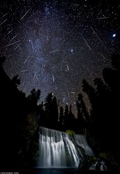 Meteor shower, McCloud Falls in northern California. I want to watch a meteor shower over a lake.