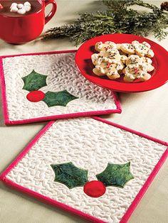 Quilting - Holiday & Seasonal Patterns - Christmas Patterns - Jolly Holly Hot Pad