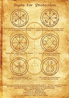 Amazon.com - Sigils for Protection Scroll Geniuses Kabbalah Poster Wicca Pagan Print Art Witch Magick Runes -