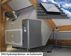 DHS_Hydrotop binnen-buiten: De integrale combinatie wordt, alsof het een dakraam is, via een opening in het dak op zolder geplaatst. Het gedeelte dat energie uit de buitenlucht wint, steekt circa 20 centimeter boven het dak uit. De Hydrotop is verkrijgbaar in twee varianten: een toestel met een verwarmingscapaciteit van 4,2 kW en een variant met een capaciteit van 7 kW.