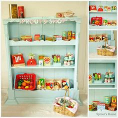 Make this wonderful play shop/store from n old shelving unit. Children's Play Shop, Wendy House, Diy Shops, Kitchen Shop, Play Spaces, Play Areas, Toy Rooms, Toys Shop, Kids Toy Shop