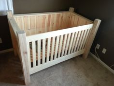 DIY Wood Crib. This is another option if doing all tree limbs/logs isn't feasible. If we did this one, maybe we could still do the 4 posts and the front spindles as birch. The sides could maybe be shutters like in one of the other pictures.