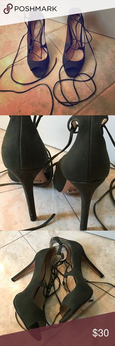Schutz Dark Green Lace Up Heels Very gently worn - in good condition. Suede army green Schutz heels with tie detail. Pair these with a favorite dress to modernize the look! SCHUTZ Shoes Heels