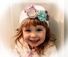 White Kufi Cap with Fabric Flower Enhancer Clips, beanie cap, crochet hat, aqua flower, hot pink flower, silver flower clip, hat, cap, white...