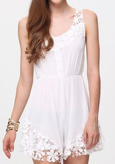 White Plain Lace Sleeveless Chiffon Jumpsuit Shorts-great for a lazy day at home