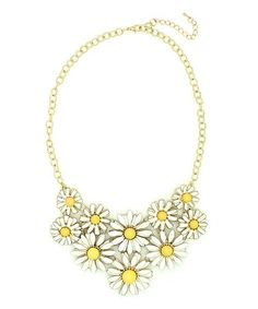 Another great find on #zulily! Yellow & Goldtone Daisy Bib Necklace #zulilyfinds