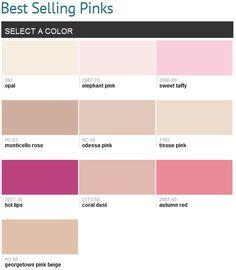 Best selling pinks (Benjamin Moore)