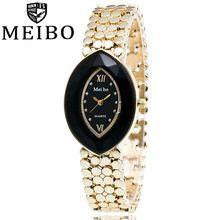 MEIBO Marca Formato DOS OLHOS de Ouro Senhoras Relógios de Pulso de Aço Inoxidável Mulheres Relógio de Presente de Quartzo Relógios Relogios Femininos 1985(China (Mainland))
