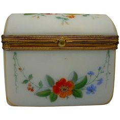 Antique French Dome Top Opaline Casket Hinged Box