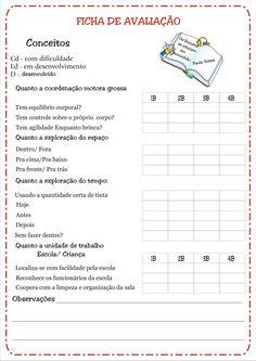 Fichas de Avaliação e Conceitos Educação Infantil | Ideia Criativa - Gi Barbosa Educação Infantil