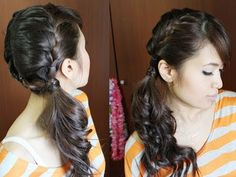 side ponytail french braids