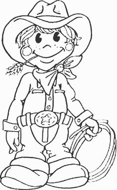online printable coloring sheet of a brave cowboy